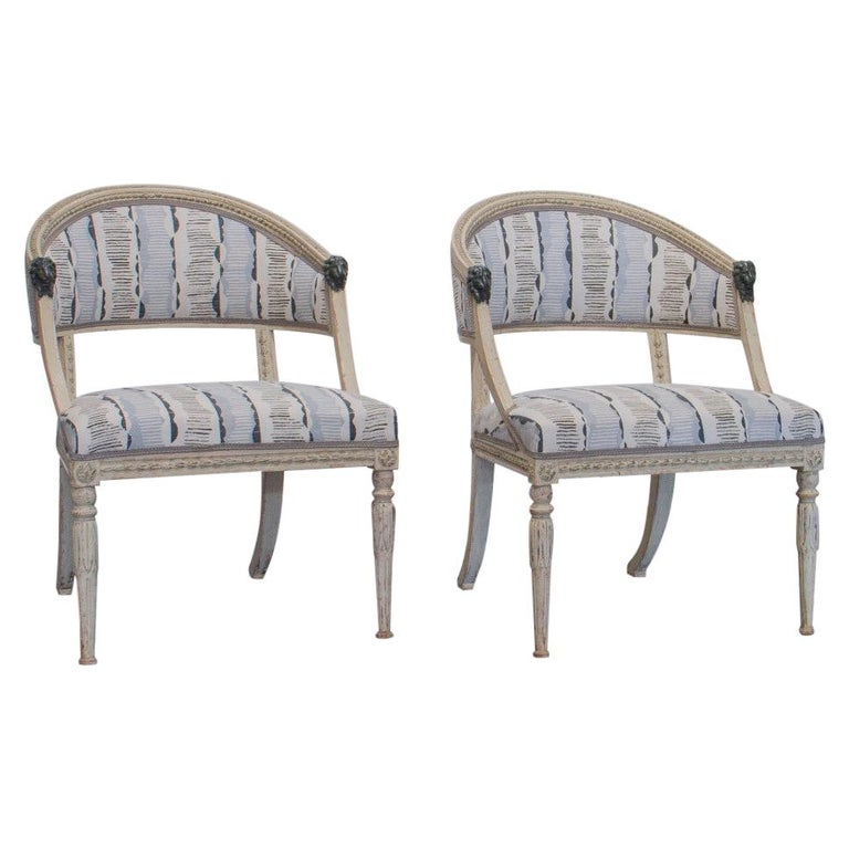 Pair of Swedish Empire Chairs, circa 1800 For Sale