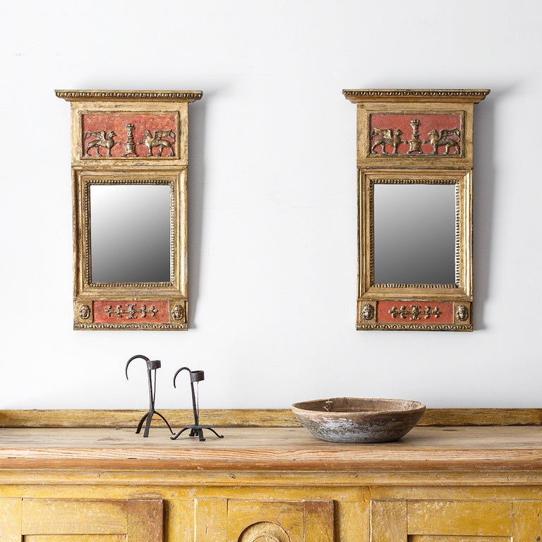 Elegant pair of 19th century Swedish Empire mirrors signed by master mirror maker C. Werne´. circa 1820, Sweden