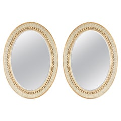Pair of Swedish Empire Neoclassical Oval Mirrors by Charles Pollock for William