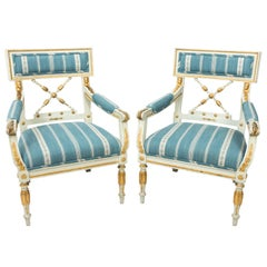 Pair of Swedish Empire Painted Giltwood Armchairs