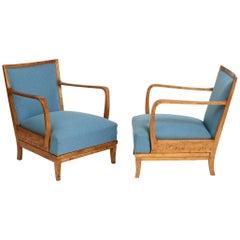 Pair of Swedish Grace Birchwood Open Armchairs, circa 1940s