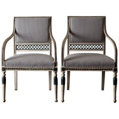 Pair of Swedish Gustavian 18th Century White and Green Armchairs, Sweden