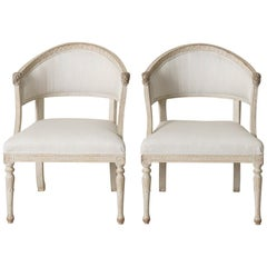 Pair of Swedish Gustavian Barrel Back Armchairs with Lion's Heads