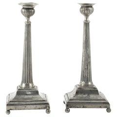 Pair of Swedish Gustavian Futed Pewter Candlesticks