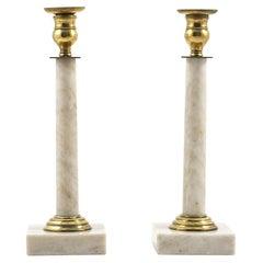 Pair of Swedish Gustavian Marble Candlesticks