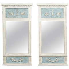 Pair of Swedish Gustavian Mirrors with Grey Blue Paint