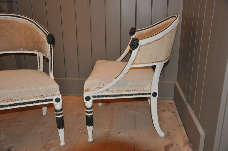 Pair of Swedish Gustavian Neoclassical Tub Chairs by Ephraim Stahl For Sale 1