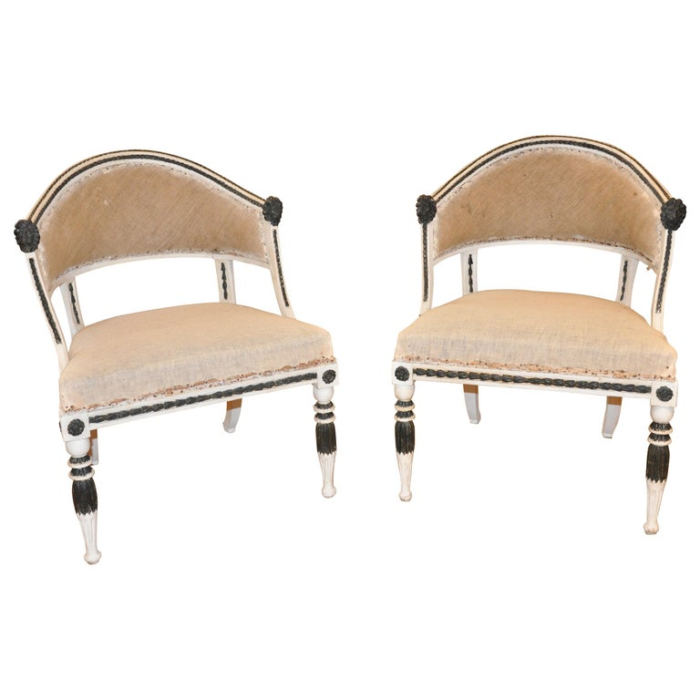 Pair of Swedish Gustavian Neoclassical Tub Chairs by Ephraim Stahl For Sale