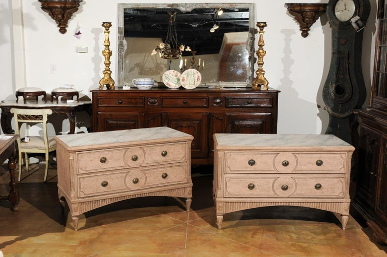Painted Pair of Swedish Gustavian Period 1790s Two-Drawer Chests with Soft Pink Color For Sale