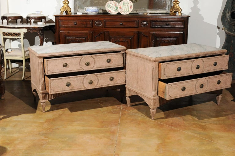 18th Century Pair of Swedish Gustavian Period 1790s Two-Drawer Chests with Soft Pink Color For Sale
