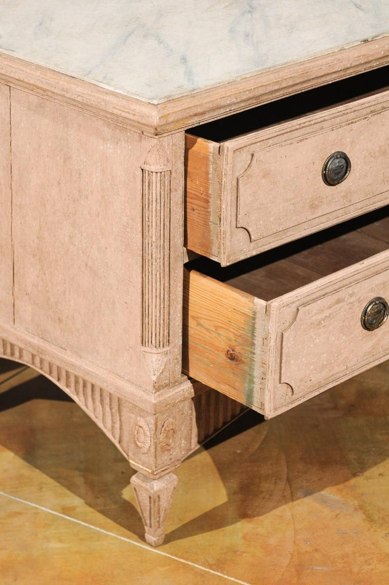 Wood Pair of Swedish Gustavian Period 1790s Two-Drawer Chests with Soft Pink Color For Sale