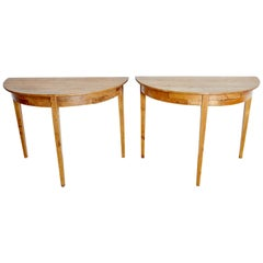 Pair of Swedish Gustavian Pine Demilune Console Tables