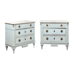 Pair of Swedish Gustavian Style 19th Century Light Blue Painted Wood Chests
