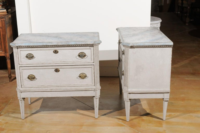 Pair of Swedish Gustavian Style 19th Century Painted Chests with Marbleized Tops For Sale 5