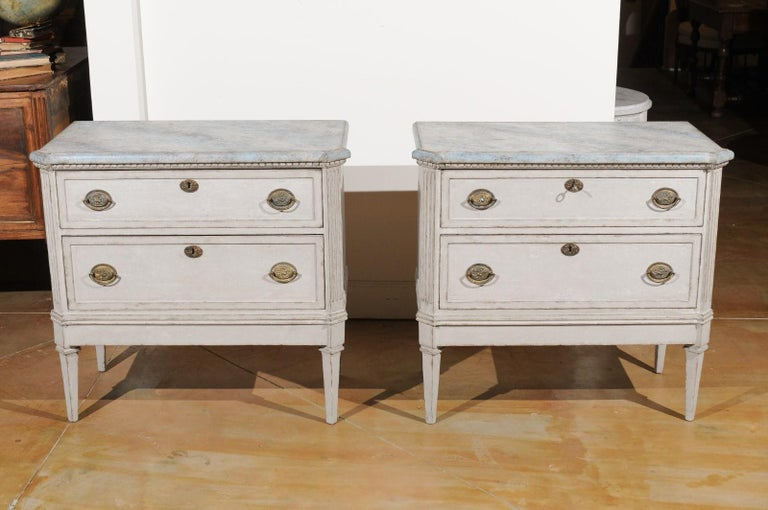 Pair of Swedish Gustavian Style 19th Century Painted Chests with Marbleized Tops For Sale 6