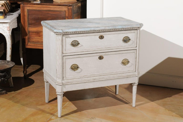 Carved Pair of Swedish Gustavian Style 19th Century Painted Chests with Marbleized Tops For Sale