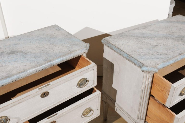 Pair of Swedish Gustavian Style 19th Century Painted Chests with Marbleized Tops For Sale 1