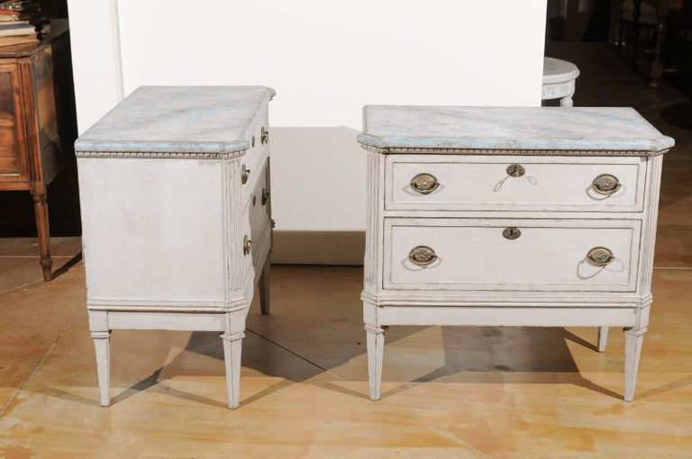 Pair of Swedish Gustavian Style 19th Century Painted Chests with Marbleized Tops For Sale 2