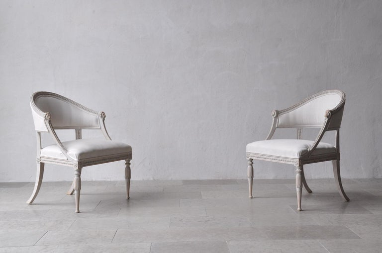 Pair of Swedish Gustavian Style Barrel Back Armchairs with Lions' Heads In Excellent Condition For Sale In Wichita, KS