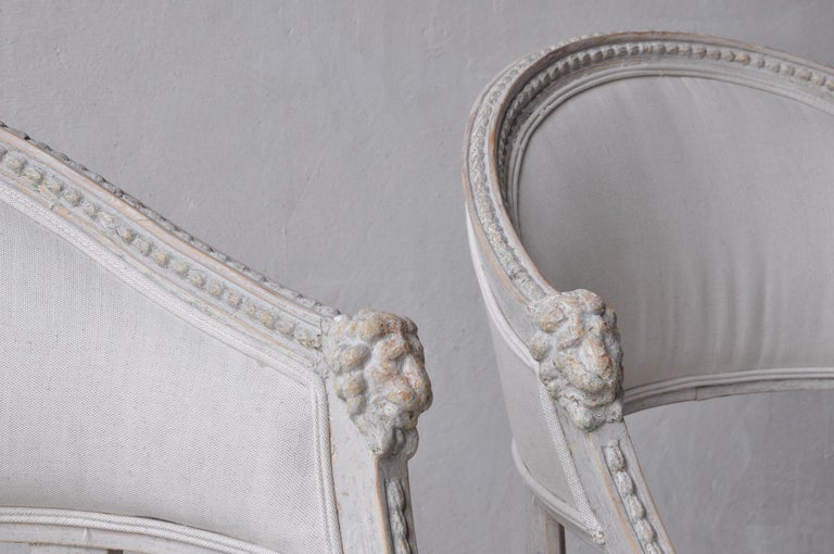 Paint Pair of Swedish Gustavian Style Barrel Back Armchairs with Lions' Heads For Sale