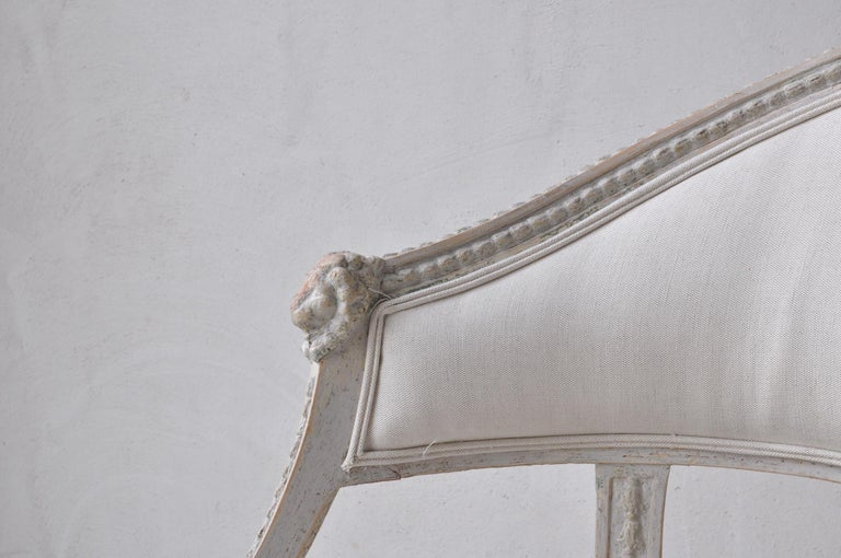 Pair of Swedish Gustavian Style Barrel Back Armchairs with Lions' Heads For Sale 1