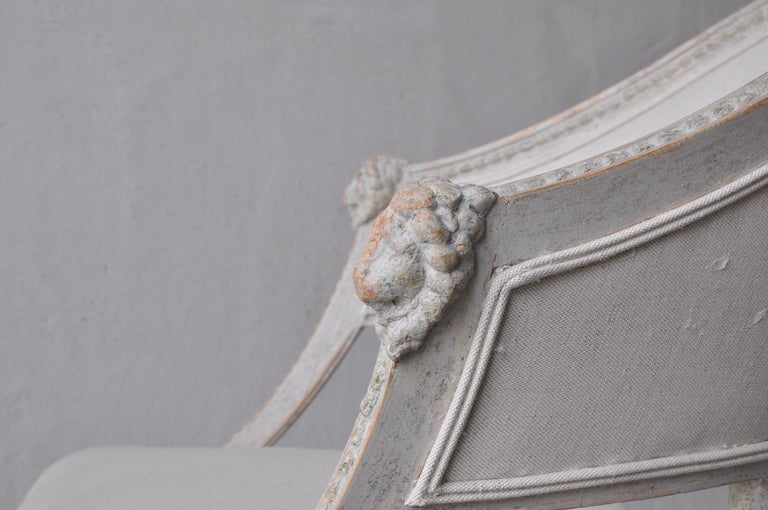 Pair of Swedish Gustavian Style Barrel Back Armchairs with Lions' Heads For Sale 2