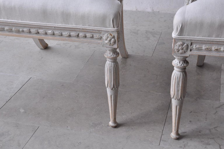 Pair of Swedish Gustavian Style Barrel Back Armchairs with Lions' Heads For Sale 3
