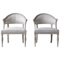 Pair of Swedish Gustavian Style Barrel Back Armchairs with Lions' Heads
