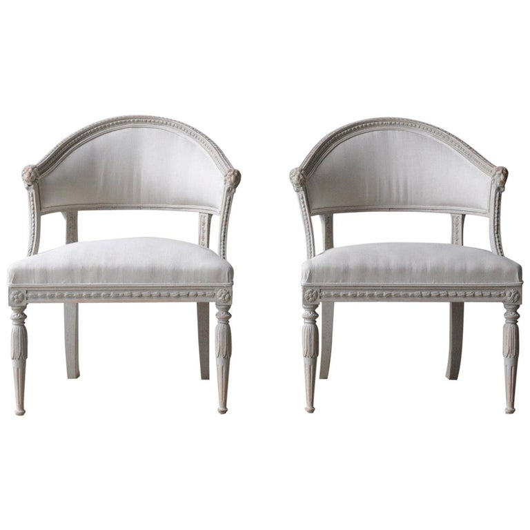 Pair of Swedish Gustavian Style Barrel Back Armchairs with Lions' Heads For Sale
