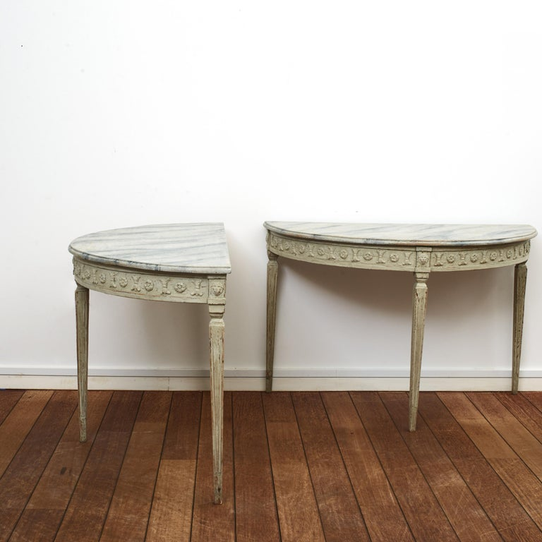 Painted Pair of Swedish Gustavian Style Demilune Console Tables For Sale