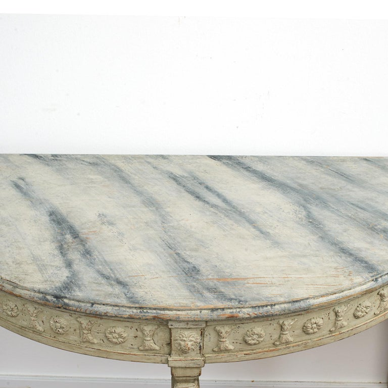 19th Century Pair of Swedish Gustavian Style Demilune Console Tables For Sale