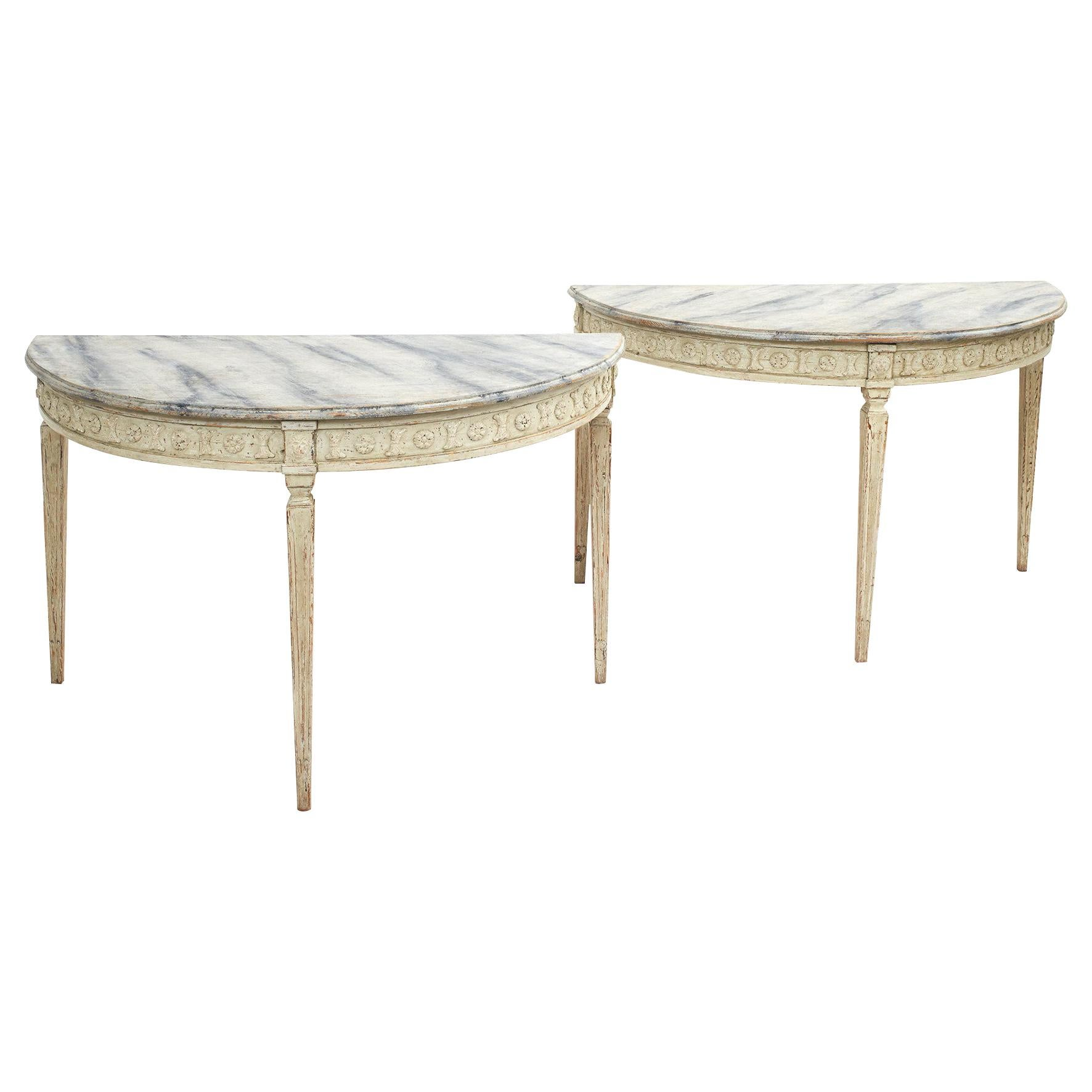 Pair of Swedish Gustavian Style Demilune Console Tables