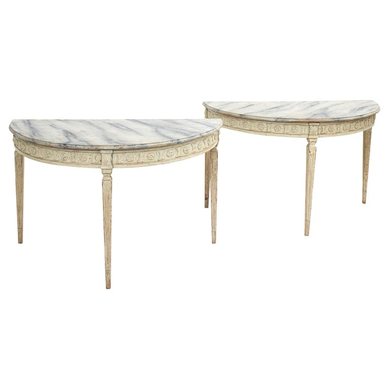 Pair of Swedish Gustavian Style Demilune Console Tables For Sale