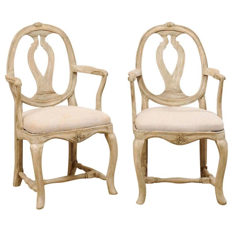 "Pair of Swedish Gustavian ""Svenska Modellen"" Wood Armchairs, Early 19th Century For Sale"