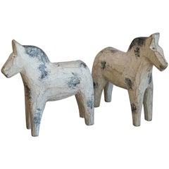 Pair of Swedish Hand-Carved Dala Horses