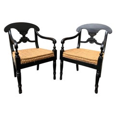 Pair Of Swedish Karl Johan Empire Black Painted Armchairs