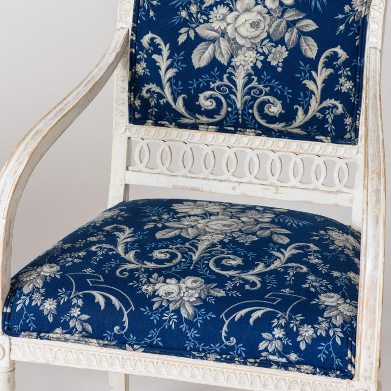 19th Century Pair of Swedish Late Gustavian Armchairs with Old White Paint, circa 1820 For Sale