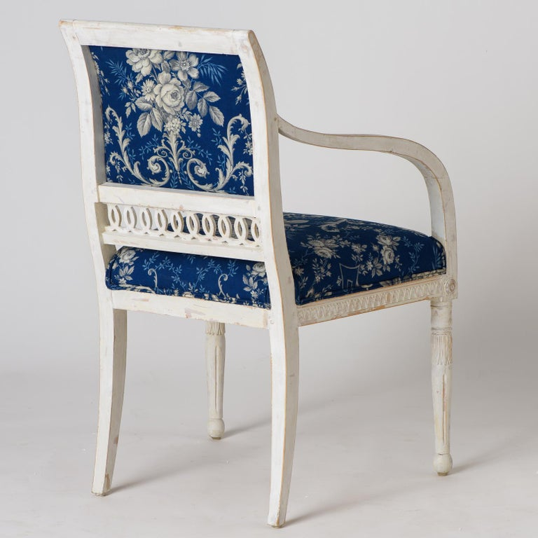 Pair of Swedish Late Gustavian Armchairs with Old White Paint, circa 1820 For Sale 5