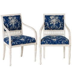 Pair of Swedish Late Gustavian Armchairs with Old White Paint, circa 1820