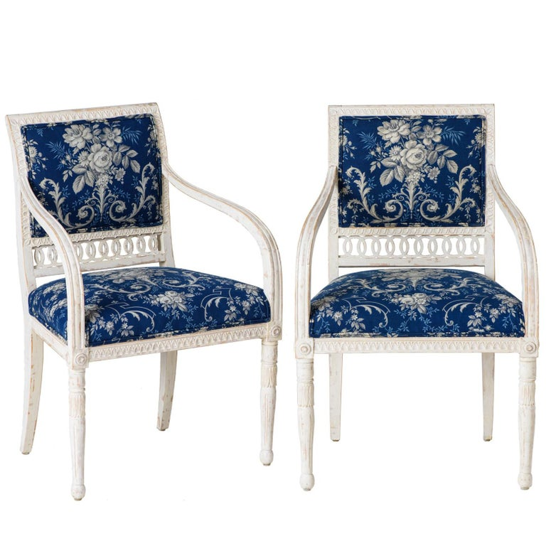 Pair of Swedish Late Gustavian Armchairs with Old White Paint, circa 1820 For Sale