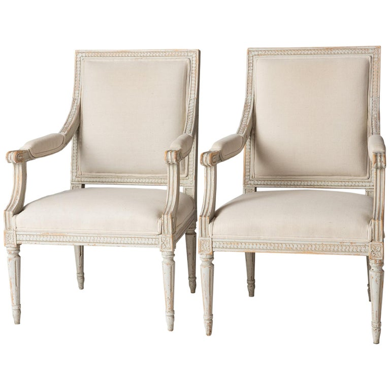 Pair of Swedish Late Gustavian Period Stockholm Armchairs, circa 1800 For Sale