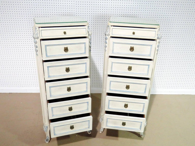 Painted Pair of Swedish Louis XVI Style Lingerie Chests For Sale