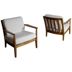 Pair of Swedish Lounge Arm Chairs in Walnut, 1960s