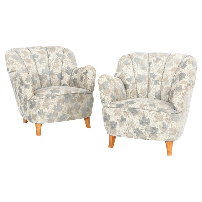 Pair of Swedish Lounge Chairs For Sale
