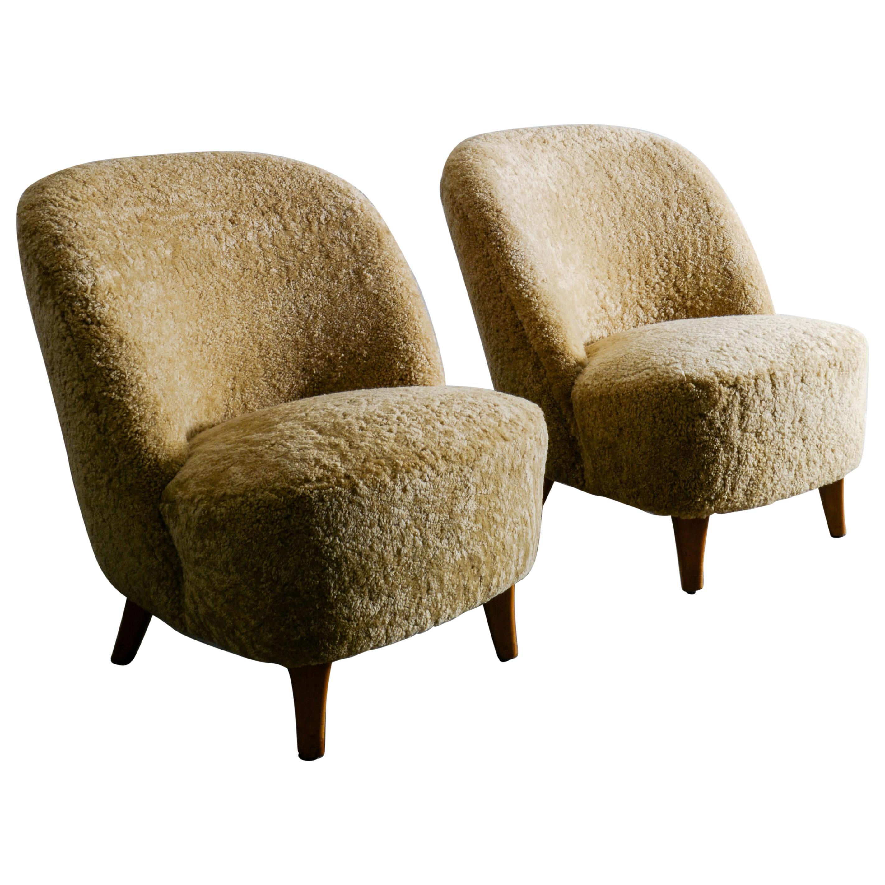 Pair of Swedish Lounge Chairs in Sheepskin, 1940s