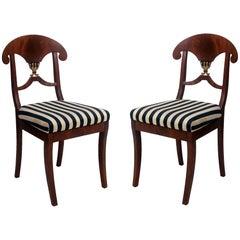 Pair of Swedish Mahogany Karl Johan Biedermeier Side Chairs, circa 1825