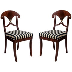 Pair of Swedish Mahogany Karl Johan Biedermeier Side Chairs, circa 1825