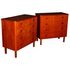 Pair of Swedish Mid-Century Modern Teak Dresser Chests