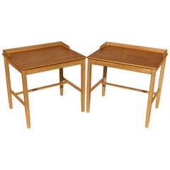 Pair of Swedish Midcentury Oak and Teak Tables
