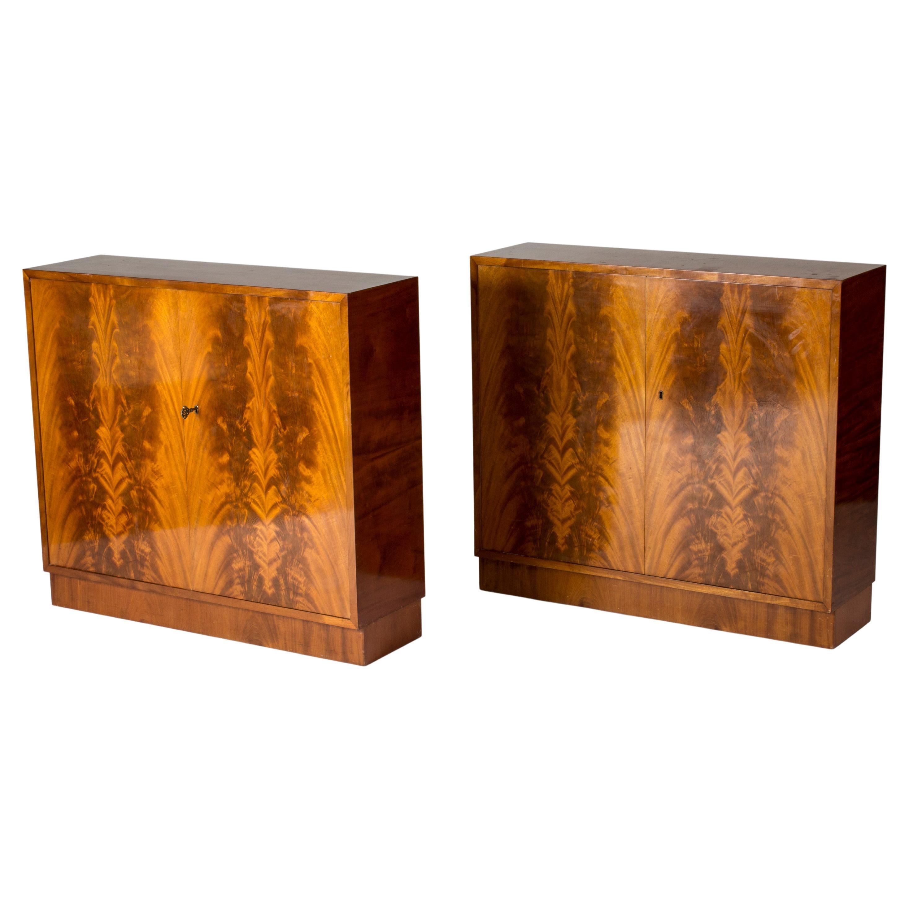 Pair of Swedish Midcentury Mahogany Cabinets, 1950s